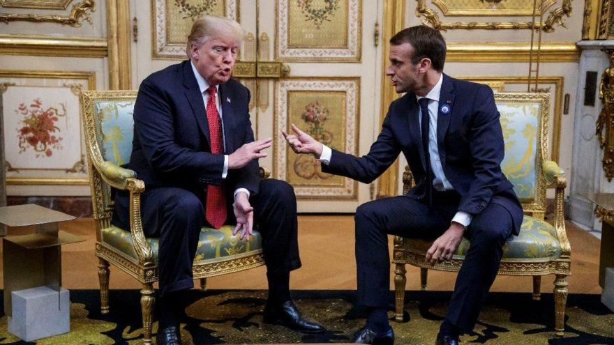 Trump ve Macron'dan gergin buluşma!
