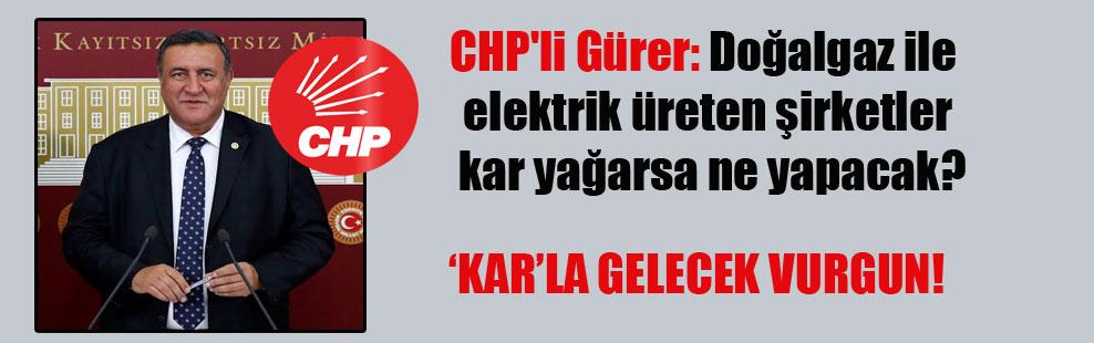 CHP'li Gürer: Doğalgaz ile elektrik üreten şirketler kar yağarsa ne yapacak?