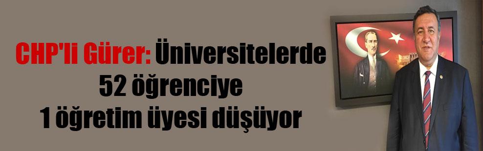CHP'li Gürer: Üniversitelerde 52 öğrenciye 1 öğretim üyesi düşüyor
