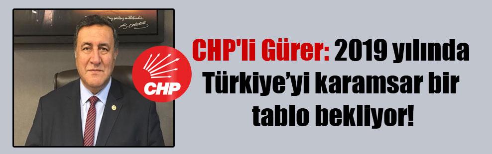 CHP'li Gürer: 2019 yılında Türkiye'yi karamsar bir tablo bekliyor!