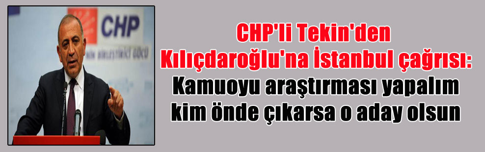 CHP'li Tekin'den Kılıçdaroğlu'na İstanbul çağrısı: Kamuoyu araştırması yapalım kim önde çıkarsa o aday olsun