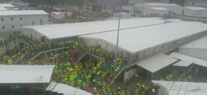 Başakşehir Şehir Hastanesi inşaatında çalışan işçilerden eylem
