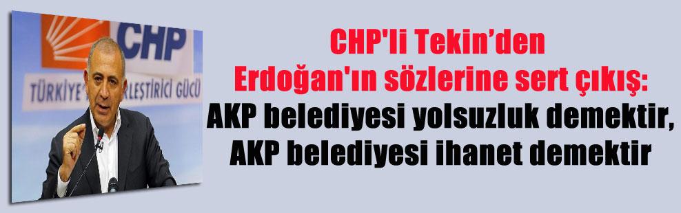 CHP'li Tekin'den Erdoğan'ın sözlerine sert çıkış: AKP belediyesi yolsuzluk demektir, AKP belediyesi ihanet demektir
