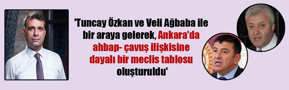 'Tuncay Özkan ve Veli Ağbaba ile bir araya gelerek, Ankara'da ahbap- çavuş ilişkisine dayalı bir meclis tablosu oluşturuldu'