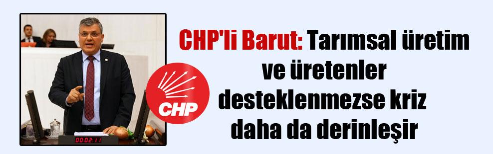 CHP'li Barut: Tarımsal üretim ve üretenler desteklenmezse kriz daha da derinleşir
