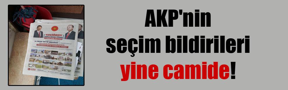 AKP'nin seçim bildirileri yine camide!