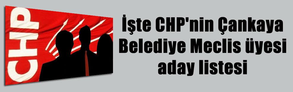 İşte CHP'nin Çankaya Belediye Meclis üyesi aday listesi