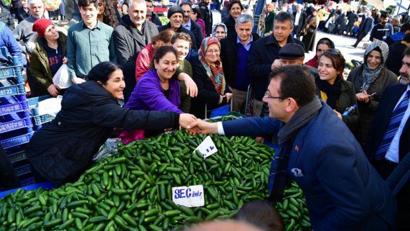 İmamoğlu'nun pazar ziyareti mitinge dönüştü!