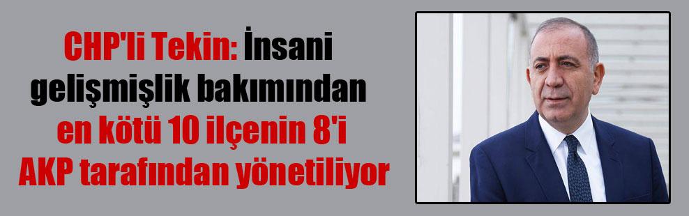CHP'li Tekin: İnsani gelişmişlik bakımından en kötü 10 ilçenin 8'i AKP tarafından yönetiliyor