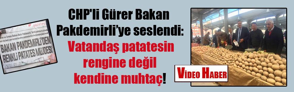 CHP'li Gürer Bakan Pakdemirli'ye seslendi: Vatandaş patatesin rengine değil kendine muhtaç!
