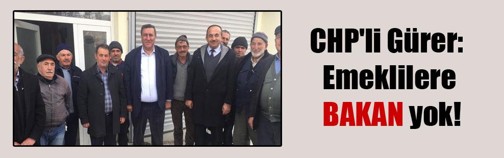 CHP'li Gürer: Emeklilere BAKAN yok!