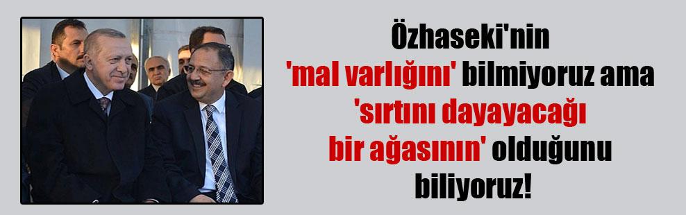Özhaseki'nin 'mal varlığını' bilmiyoruz ama 'sırtını dayayacağı bir ağasının' olduğunu biliyoruz!