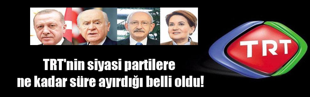 TRT'nin siyasi partilere ne kadar süre ayırdığı belli oldu!