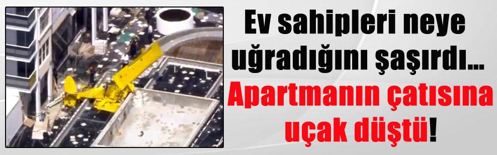 Ev sahipleri neye uğradığını şaşırdı… Apartmanın çatısına uçak düştü!