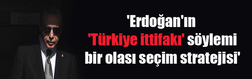 'Erdoğan'ın 'Türkiye ittifakı' söylemi bir olası seçim stratejisi'