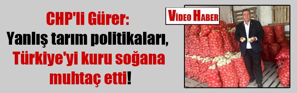 CHP'li Gürer: Yanlış tarım politikaları, Türkiye'yi kuru soğana muhtaç etti!