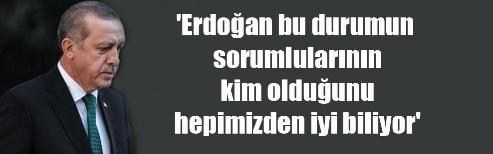 'Erdoğan bu durumun sorumlularının kim olduğunu hepimizden iyi biliyor'