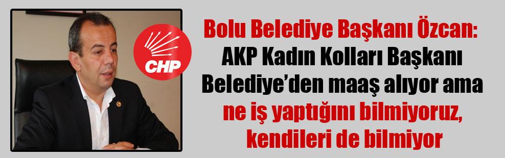 Bolu Belediye Başkanı Özcan: AKP Kadın Kolları Başkanı Belediye'den maaş alıyor ama ne iş yaptığını bilmiyoruz, kendileri de bilmiyor