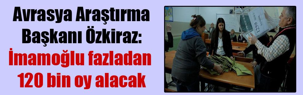 Avrasya Araştırma Başkanı Özkiraz: İmamoğlu fazladan 120 bin oy alacak