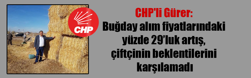 CHP'li Gürer: Buğday alım fiyatlarındaki yüzde 29'luk artış, çiftçinin beklentilerini karşılamadı