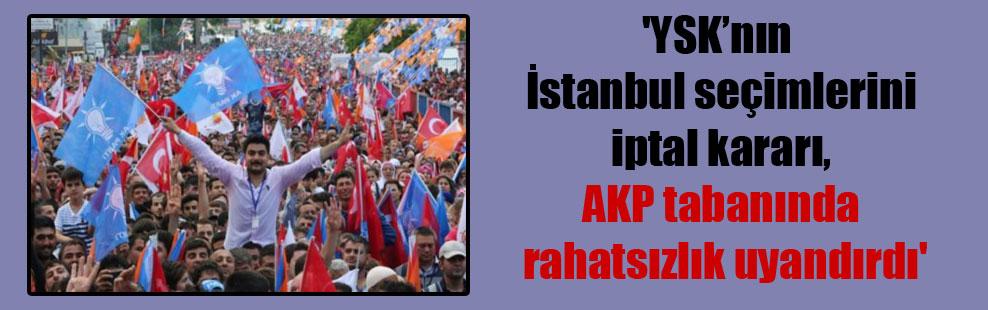 'YSK'nın İstanbul seçimlerini iptal kararı, AKP tabanında rahatsızlık uyandırdı'