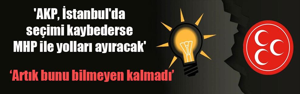 'AKP, İstanbul'da seçimi kaybederse MHP ile yolları ayıracak'