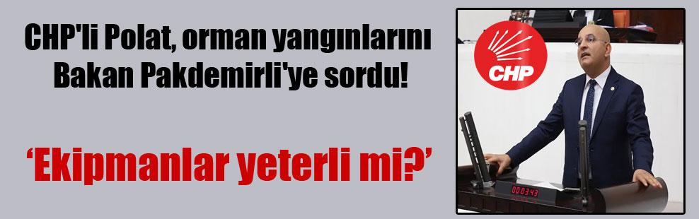 CHP'li Polat, orman yangınlarını Bakan Pakdemirli'ye sordu!