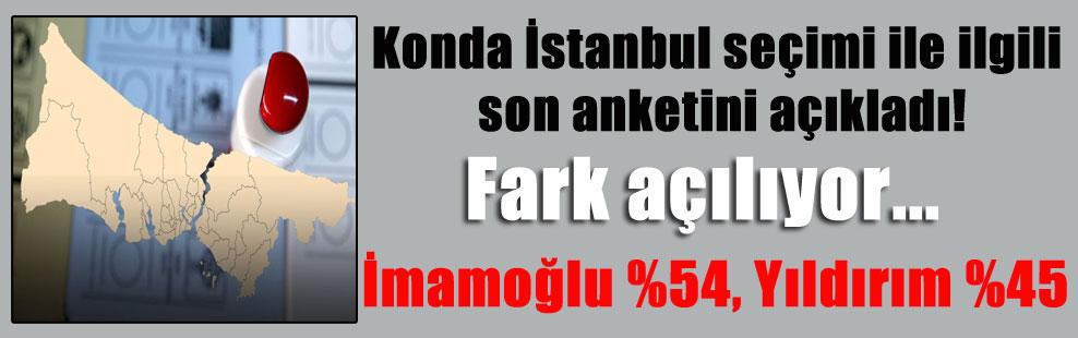 Konda İstanbul seçimi ile ilgili son anketini açıkladı! Fark açılıyor… İmamoğlu %54, Yıldırım %45