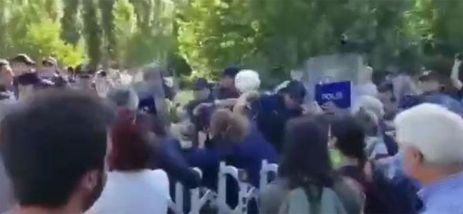 Polis ve iş makineleri ODTÜ'de: Ağaç kesimi başladı