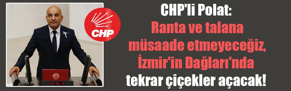 CHP'li Polat: Ranta ve talana müsaade etmeyeceğiz, İzmir'in Dağları'nda tekrar çiçekler açacak!