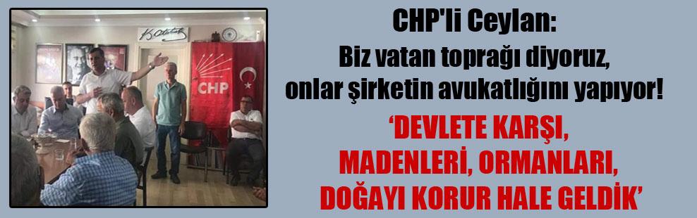 CHP'li Ceylan: Biz vatan toprağı diyoruz, onlar şirketin avukatlığını yapıyor!
