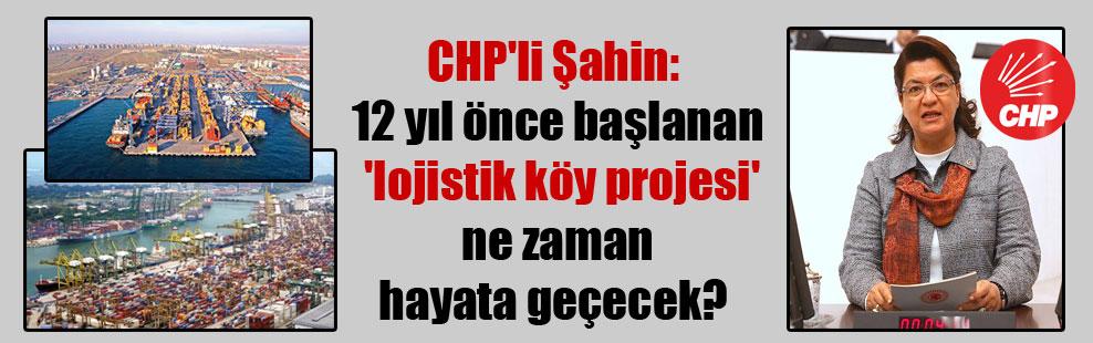 CHP'li Şahin: 12 yıl önce başlanan 'lojistik köy projesi' ne zaman hayata geçecek?