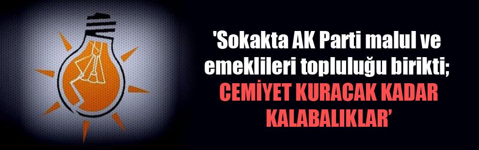 'Sokakta AK Parti malul ve emeklileri topluluğu birikti; cemiyet kuracak kadar kalabalıklar'