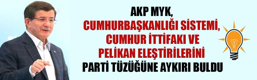 AKP MYK, cumhurbaşkanlığı sistemi, Cumhur İttifakı ve pelikan eleştirilerini parti tüzüğüne aykırı buldu