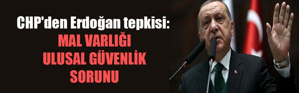 CHP'den Erdoğan tepkisi: Mal varlığı ulusal güvenlik sorunu