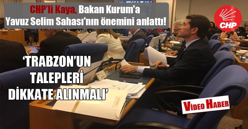 CHP'li Kaya, Bakan Kurum'a Yavuz Selim Sahası'nın önemini anlattı!