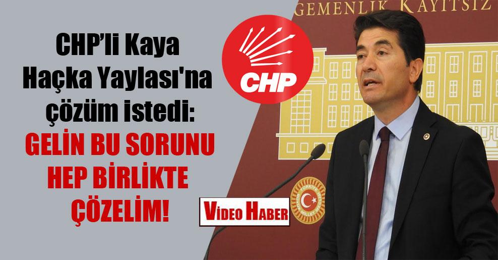 CHP'li Kaya Haçka Yaylası'na çözüm istedi: Gelin bu sorunu hep birlikte çözelim!