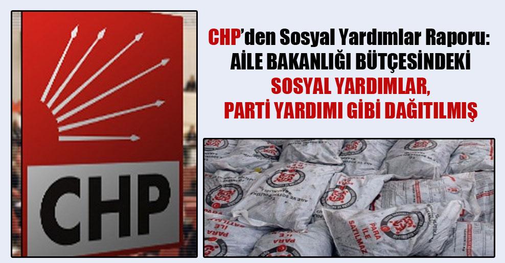CHP'den Sosyal Yardımlar Raporu: Aile Bakanlığı bütçesindeki sosyal yardımlar, parti yardımı gibi dağıtılmış