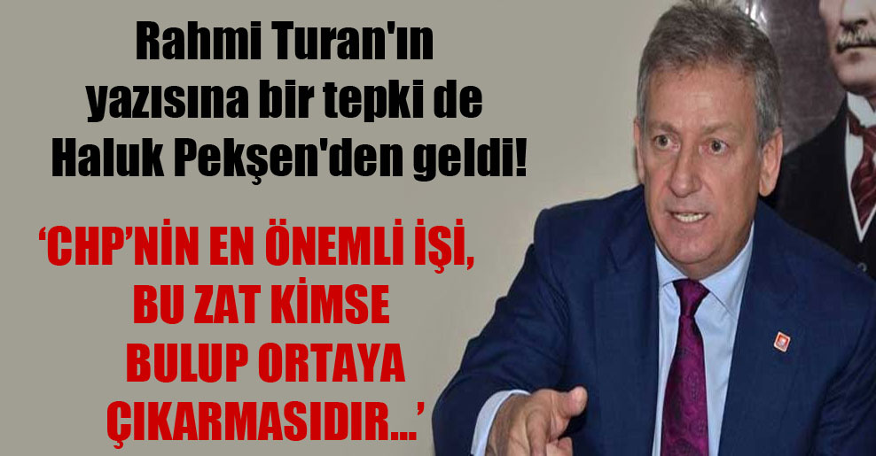 Rahmi Turan'ın yazısına bir tepki de Haluk Pekşen'den geldi!