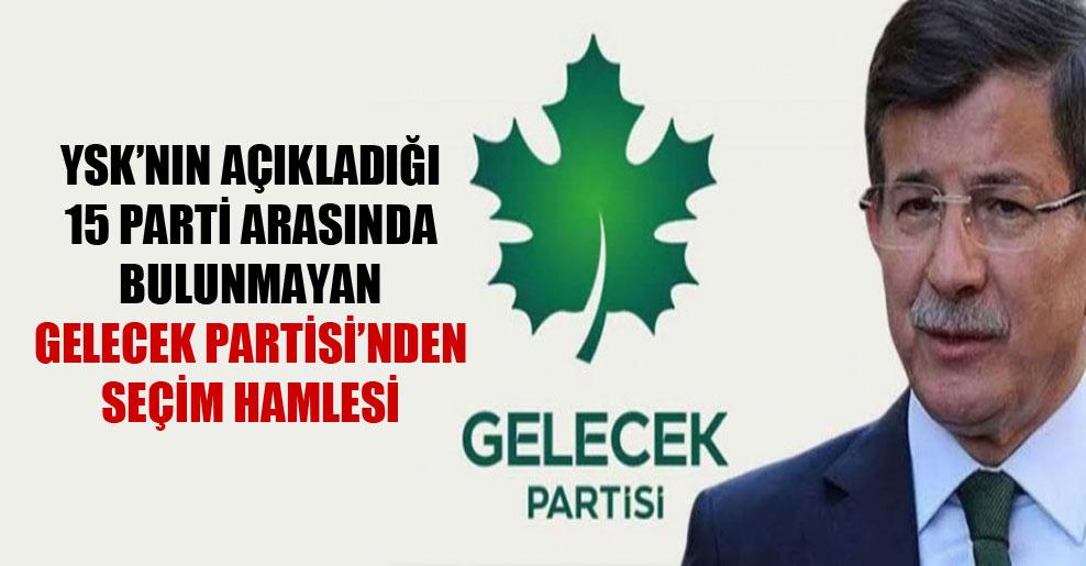 YSK'nın açıkladığı 15 parti arasında bulunmayan Gelecek Partisi'nden seçim hamlesi