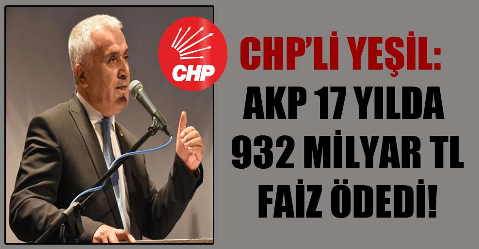 CHP'li Yeşil: AKP 17 yılda 932 milyar TL faiz ödedi!