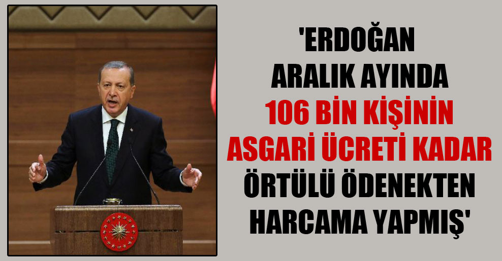 'Erdoğan aralık ayında 106 bin kişinin asgari ücreti kadar örtülü ödenekten harcama yapmış'