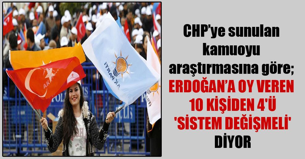 CHP'ye sunulan kamuoyu araştırmasına göre; Erdoğan'a oy veren 10 kişiden 4'ü 'sistem değişmeli' diyor
