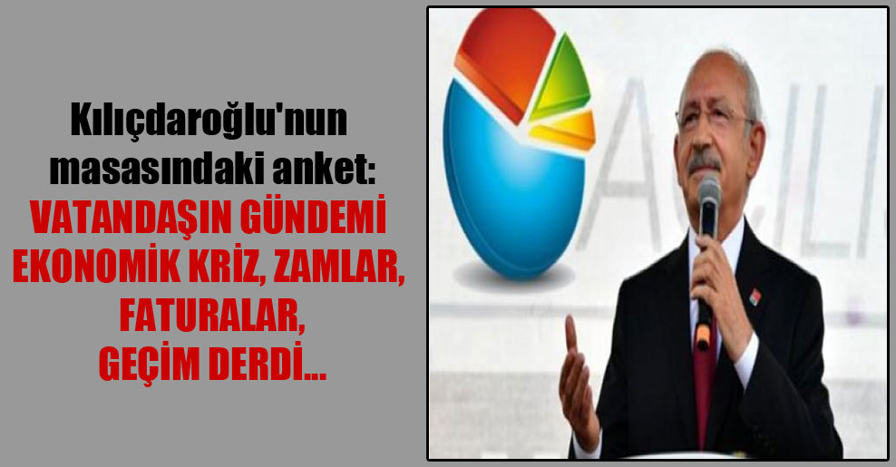 Kılıçdaroğlu'nun masasındaki anket: Vatandaşın gündemi ekonomik kriz, zamlar, faturalar, geçim derdi…