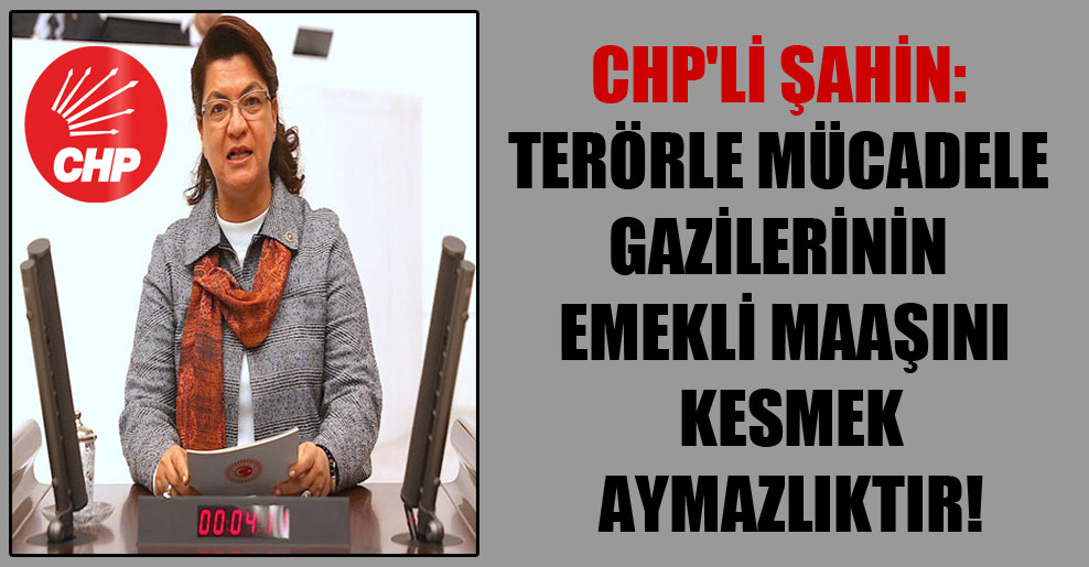 CHP'li Şahin: Terörle mücadele gazilerinin emekli maaşını kesmek aymazlıktır!