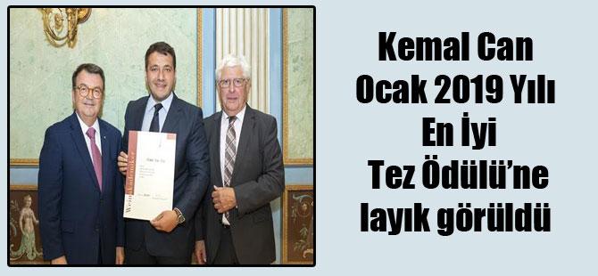 Kemal Can Ocak 2019 Yılı En İyi Tez Ödülü'ne layık görüldü