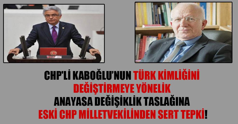 CHP'li Kaboğlu'nun Türk kimliğini değiştirmeye yönelik anayasa değişiklik taslağına eski CHP milletvekilinden sert tepki!