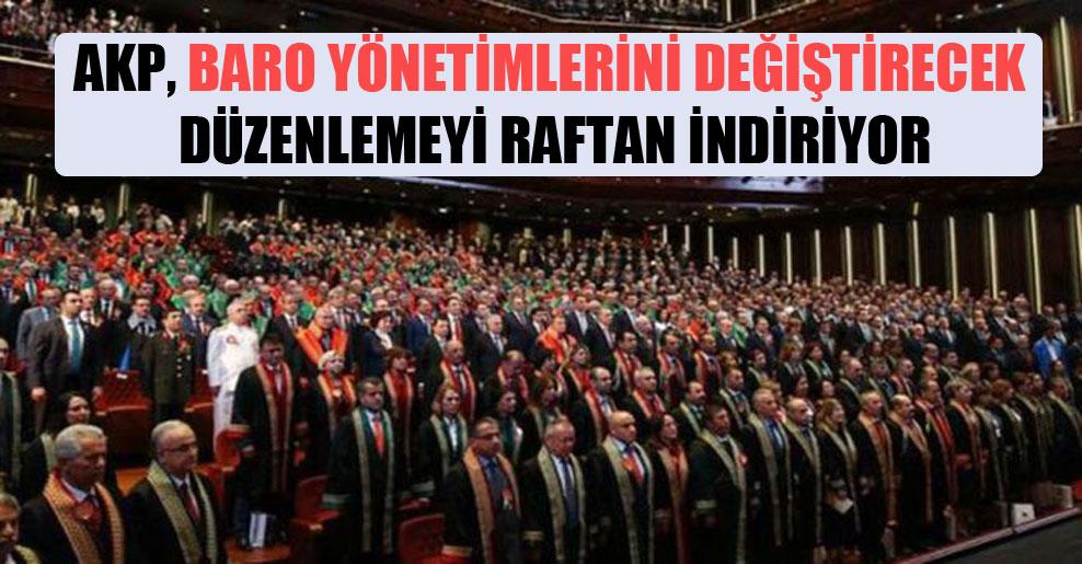 AKP, baro yönetimlerini değiştirecek düzenlemeyi raftan indiriyor
