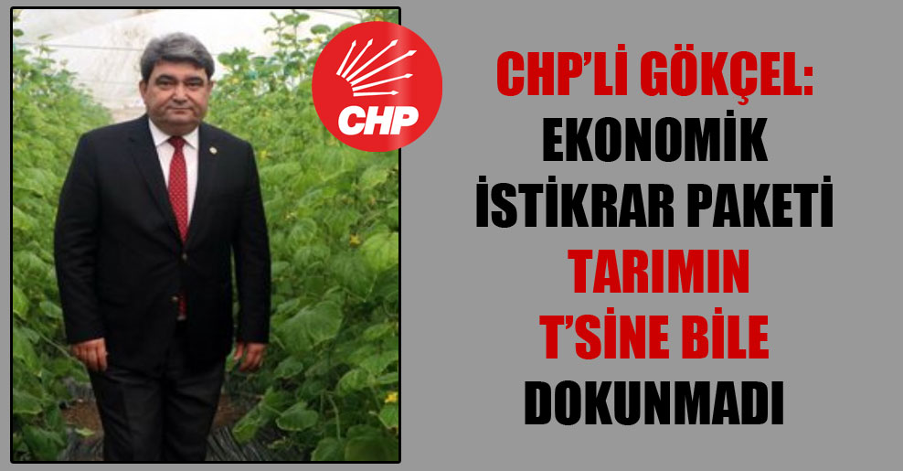 CHP'li Gökçel: Ekonomik istikrar paketi tarımın t'sine bile dokunmadı