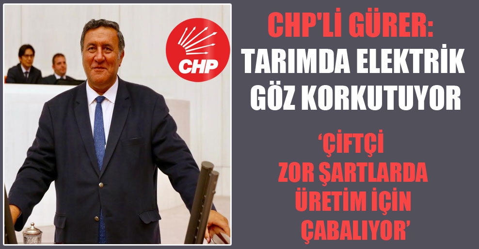 CHP'li Gürer: Tarımda elektrik göz korkutuyor